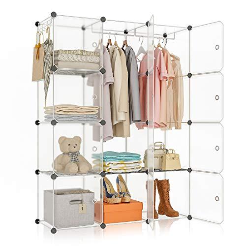 YOZO Portable Cube Organizer Storage Modular Wardrobe Closet Bedroom Storage Shelves Clothes Cabinet Polyresin Bookshelf Units Multifunction Dresser DIY Furniture 12 Cubes