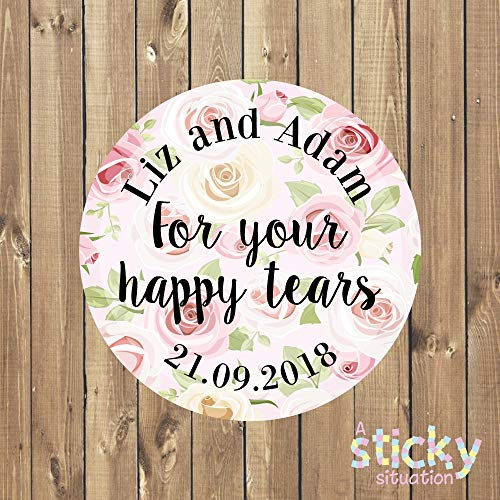Personalized for Your Happy Tears Stickers Wedding Stickers Wedding Labels Wedding Tags Tears of Joy Tissues Wedding Tissues Stickers