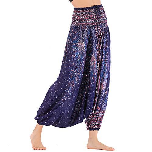 Nuofengkudu Mujer Thai Algodón Harem Pantalones Jumpsuit Hippie Boho Estampados Baggy Monos Pantalón Cintura Alta Indios Tallas Grandes Yoga Pants Pijama Verano Playa(Morado Azul Pavo,Talla única)