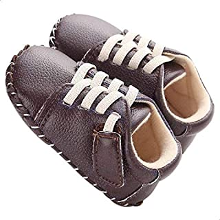 Mix and Max Faux Leather Contrast Stitching Low-Top Lace-Up Shoes for Boys 9-12 Months