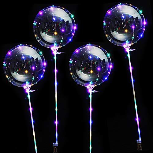 Amasawa 4 Stück 20 Zoll 3M LED Luftballons Helium Balloon Leucht mit Halterungsstäben für Geburtstage Hochzeiten Dekoration (Transparent)