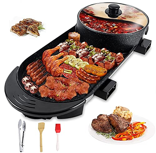 Electric Grill Hot Pot 2 in 1,Multifunctional Smokeless Grill Indoor...