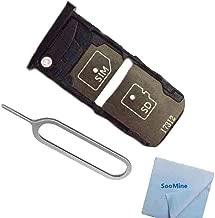 SooMine Single SIM Card Slot +SD Memory Card Holder Tray Replacement Compatible with Motorola Moto Z2 Force XT1789-01 XT1789-02 XT1789-03 XT1789-04 (Black)