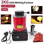 2KG Gold Melting Furnace 1150℃ /2102 ℉ Automatic Digital Melting Furnace Machine with Graphite Crucible...