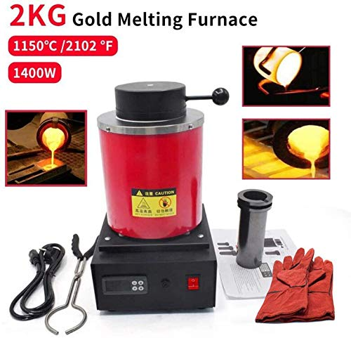 2KG Gold Melting Furnace 1150℃ /2102 ℉ Automatic Digital Melting Furnace Machine with Graphite Crucible for Precious Metals Gold Silver Jewelry,1400W