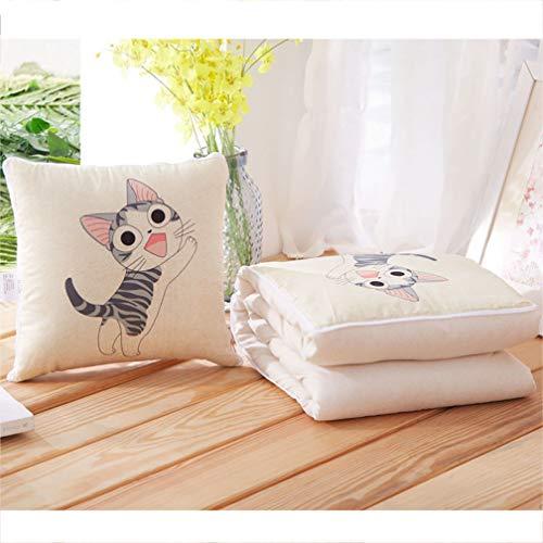 LUCHA Reise Decke Rückenkissen 2-in-1 Quilt Blanket Dekokissen Dual-Use für Auto Flugzeug Couch Home Decor Kissen
