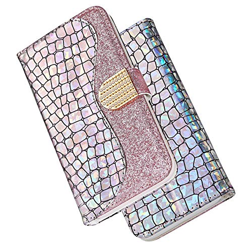 Dclbo Hülle für Samsung Galaxy S8 Plus, Handyhülle Bling Glitzer Schutzhülle Handytasche Lederhülle Klapphülle Magnet Kreativ Flip Case Brieftasche Ledertasche für Samsung Galaxy S8 Plus-Rose Gold