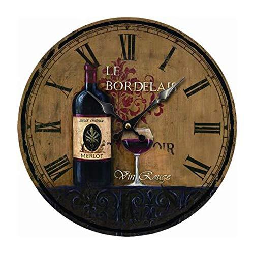 Reloj De Pared Palabra Romana Vino Tinto Relojes De Pared para Oficina Reloj para Niños para Regalo Hogar Oficina Cocina