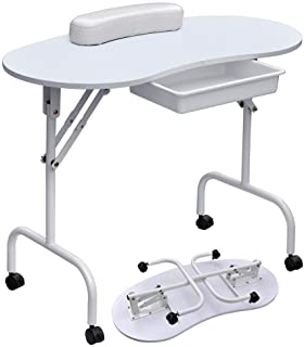 Yaheetech 37''L Portable & Foldable Manicure Table Nail Technician Desk Workstation with with Client Wrist Pad/Lockable Wheel/Free Carrying Case, White