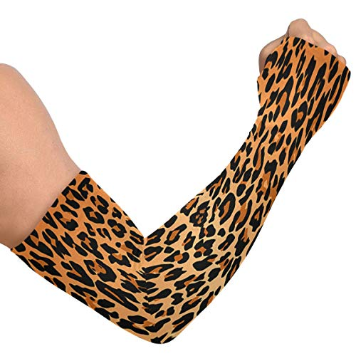 EJudge Cooling Arm Sleeves Uv Sun Protection Best Leopard Print Compression Sleeves for Arms Women Men Arm Tattoo Sleeves Support Cover Up Protective Shaper Elbow Brace for Golf Volleyball
