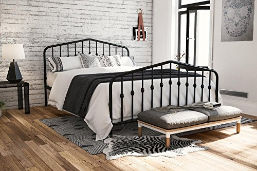 Novogratz Bushwick Metal Bed with Headboard and Footboard | Modern Design | Queen Size - Black