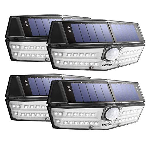 LITOM Solar Lights Outdoor, IP67 Waterproof Wireless Solar Motion Sensor Lights with 270
