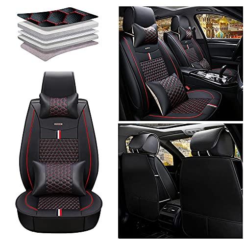 Maidao Fundas de asiento de coche para Citroen C5 2007-2020 Protector de asiento delantero, cuero artificial, impermeable, compatible con airbag de 2 asientos, con almohada, color negro y rojo