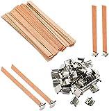 Queta - Mecha de madera con soporte de hierro para la fabricación artesanal de velas, 13 x 130 mm, 50 unidades