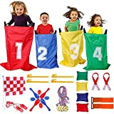 GOLDGE Sports Day Set 4 en 1 juego de deportes para jugar con 3 patas, juego de lanzar, bolsas de fiesta, carreras en bolso, carreras al aire libre, para niños 32 unidades