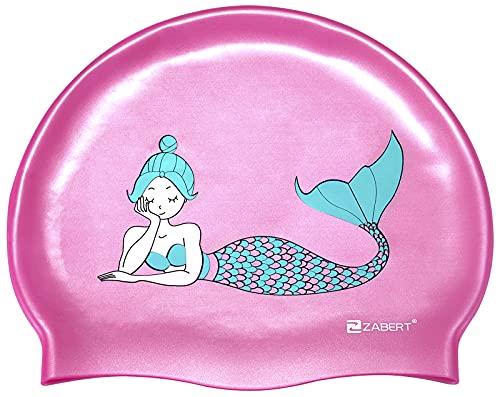 ZABERT Cuffia da nuoto per bambini, in silicone, impermeabile, con capelli lunghi, colore rosa, turchese