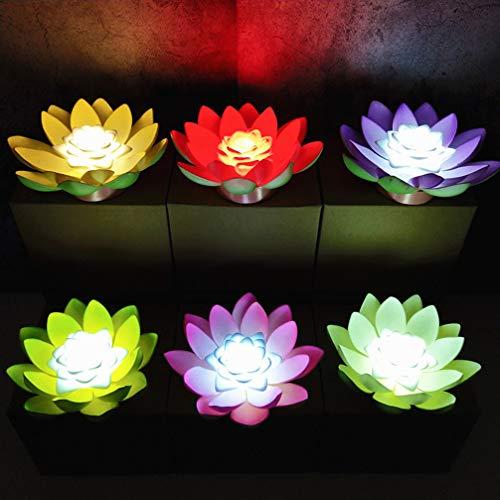 Uonlytech Packung mit 4 schwimmenden Lotus-Licht Lilie Blume Segen Licht Blume Licht für Pool Garten Aquarium Hochzeitsfeier Dekor wünschen