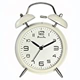 DreamSky Battery Analogy Alarm Clock with Backlight, Non Ticking Silent Clock, 3D Number Display, Loud Alarms for Heavy Sleeper, Vintage Twin Bell Clock for Bedrooms.