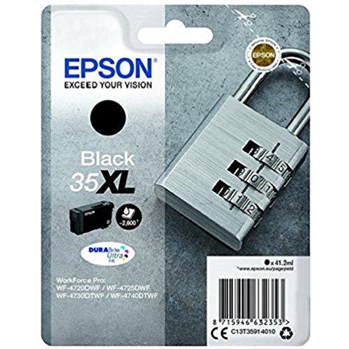 Epson 35 Serie Lucchetto, Cartuccia Originale Getto d'Inchiostro DURABrite Ultra, Formato XL, Nero, con Amazon Dash Replenishment Ready