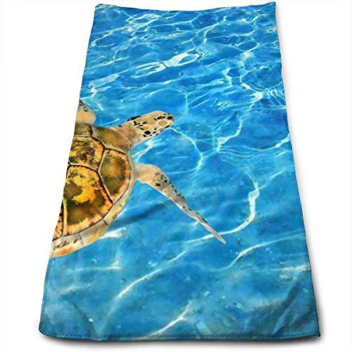 Tortuga de mar Verde Poliéster Toalla de Playa Suave Toalla de baño Absorbente Toalla de baño esponjosa de Secado rápido para Hombre Mujer Adultos y niños