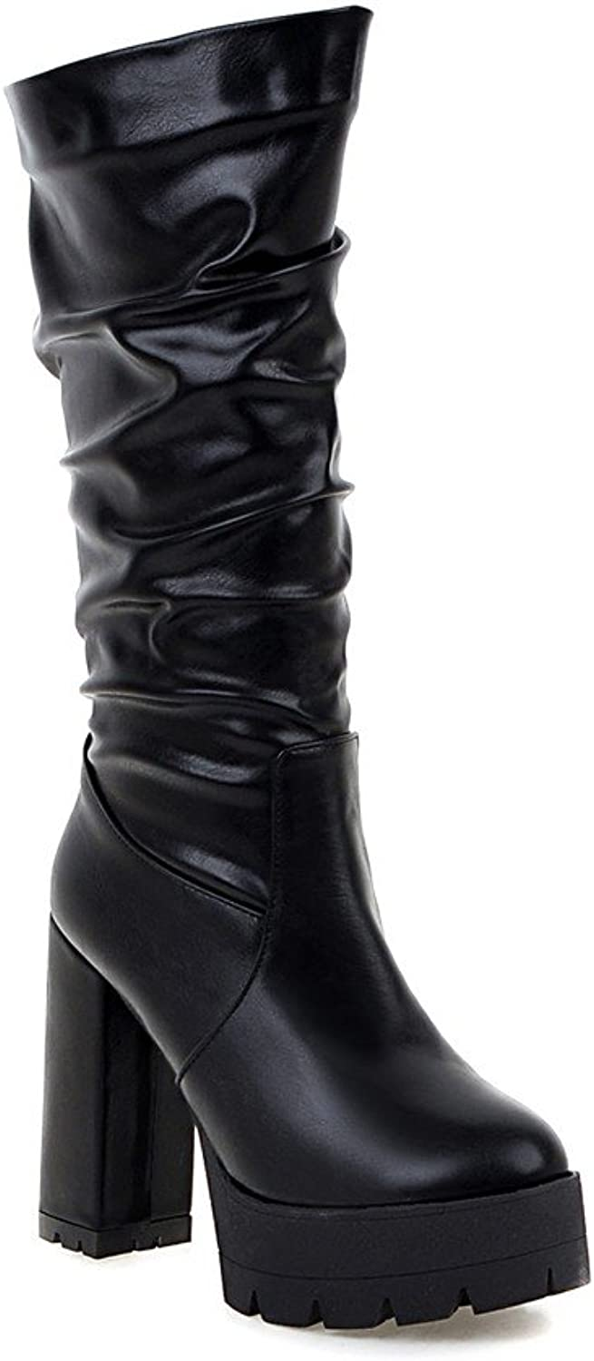 AIWEIYi Womens Western Style Patent Leather Square High Heels Mid Calf Boots Black