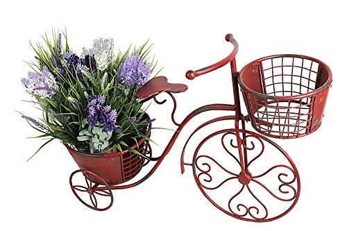 Tricycle Plant Stand Bicycle Planter, Iron Plant Stand Flower Pot Cart Holder Indoor Outdoor Home Garden Patio Decor, 27.5' x 9.8' x 18.5'