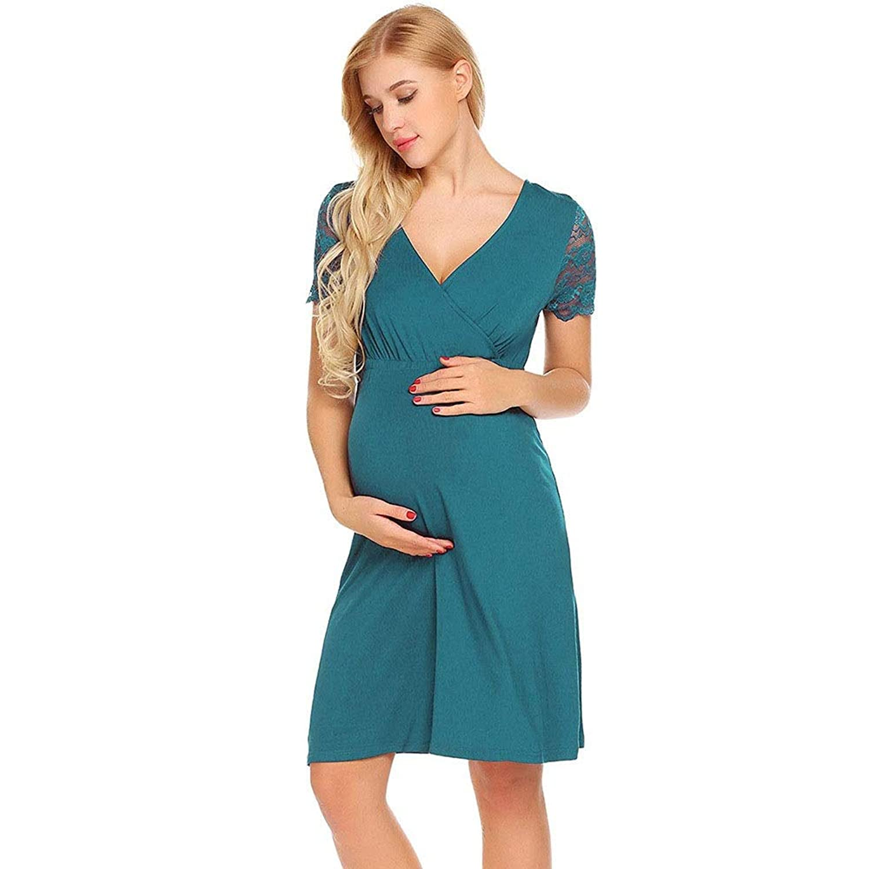 女性用マタニティラップVネックサマードレス - 半袖 (Color : Green, Size : XXL)