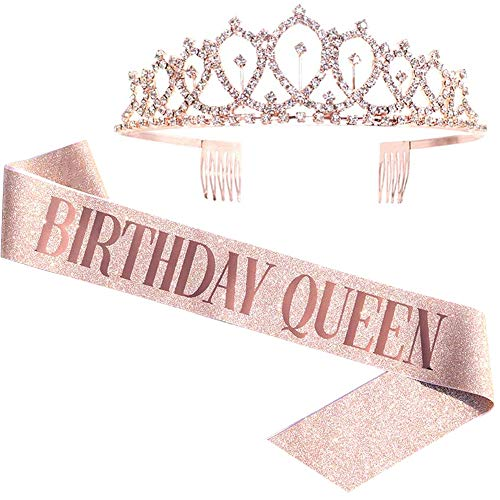 Birthday Queen Sash & Rhinestone Tiara - Rose Gold Birthday Gifts Glitter Birthday Sash Birthday Party Favors