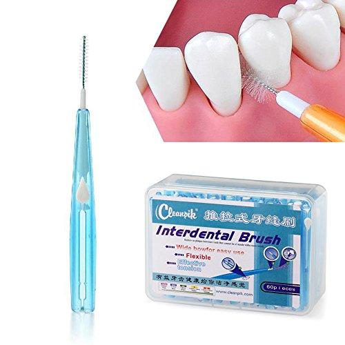 Ruier-hui Cepillos Interdentales Palillo Interdental(60 pcs) Palillos Dentales Palillo de Dientes Cepillo Dental Limpiardor de Dientas Hilo Interdental (Azúl)