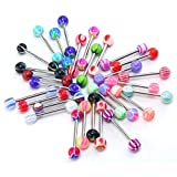 Coolrunner 30pc Tongue Rings Piercing Body Jewelry Tounge Bars Barbells Kit