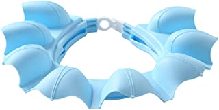 Baby Shower Cap Bath Shampoo wash Visor hat Soft Silicone Adjustable Bathing tub Head Hair Rinser Shield Protection Kids and Toddler Children(Blue)