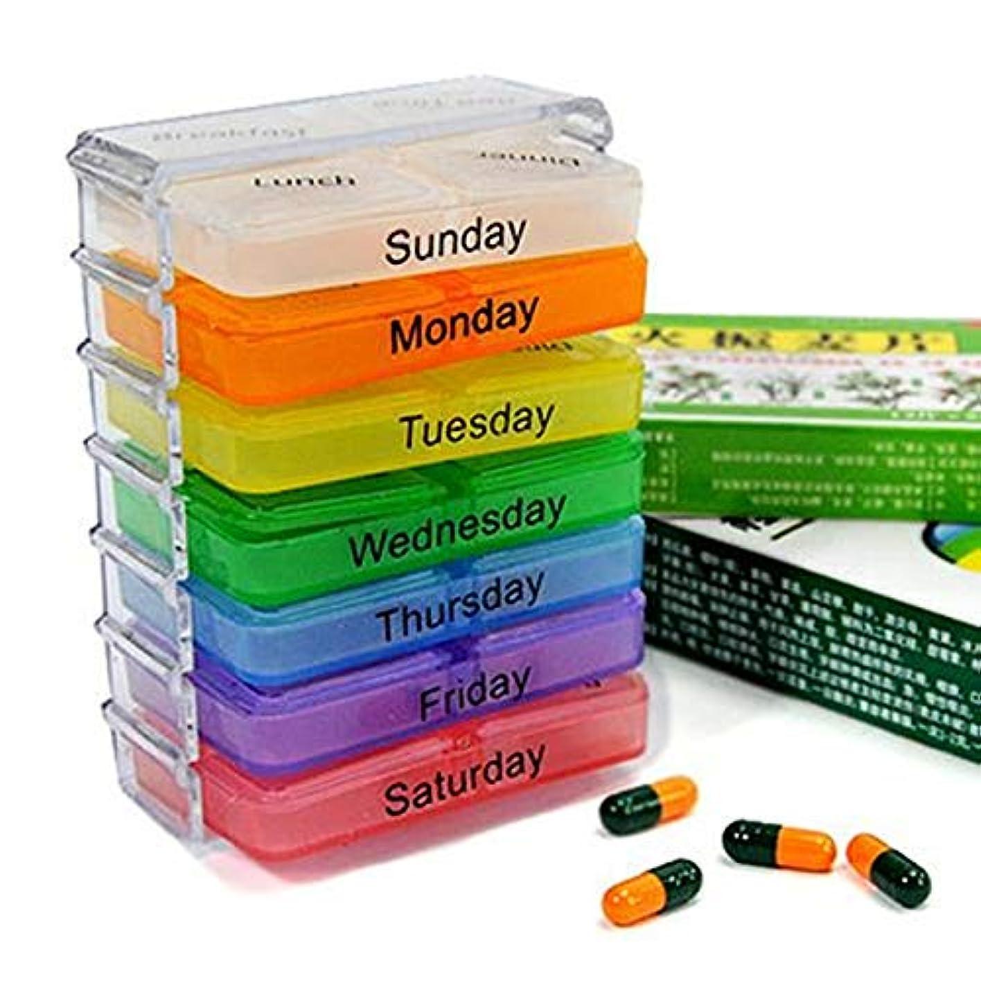 ロマンチック溶接くるくる薬箱が付いている7層の折る小さい丸薬箱 - 多彩