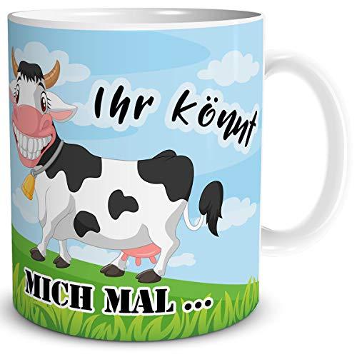 TRIOSK Tasse Kuh lustig mit Spruch Ihr könnt Mich mal Kuhmotiv Geschenk für Kuhliebhaber Arbeit Büro Frauen Freundin Kollegin