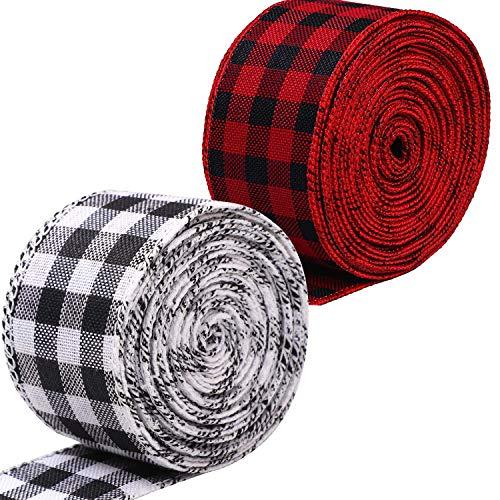 Kariertes Juteband, rot, schwarz, weiß, Gingham-Muster, Weihnachtsgeschenkband, Drahtband für Weihnachten, Basteln, Dekoration, Blumenschleifen, Handwerk, 6,2 cm, 60,4 cm, 2 Rollen