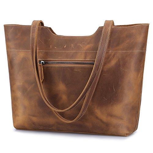 S-ZONE Vintage Genuine Leather Tote Bag for Women Large Handbag Shoulder Purse