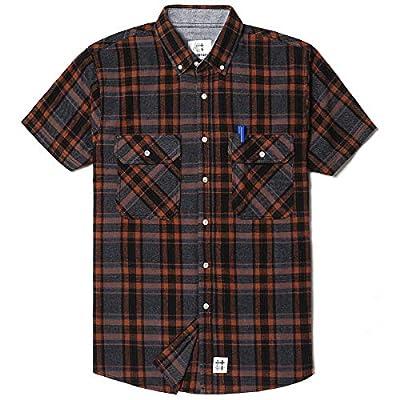 Men's Short Sleeve Plaid Checkered Button Down Casual Work Shirts