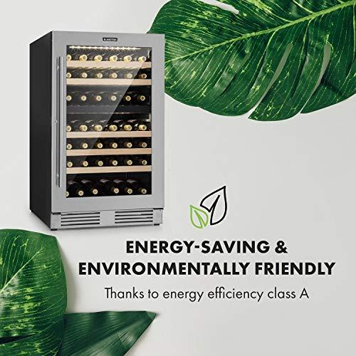 Klarstein Vinovilla Duo 79 - Cave à vin, 59,5 cm, 189 L, 79 bouteilles de vin, pose libre ou encastrable, 2 zones de refroidissement, éclairage LED, 5 inserts bois, Touch-Control, acier inoxydable