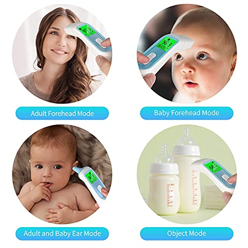 Ear Thermometer for Baby, ELERA Infrared Thermometer with Automatic Switching Mode of Ear & Forehead, 1s Measurement, 4 Color Backlight Display with Fever Indicator