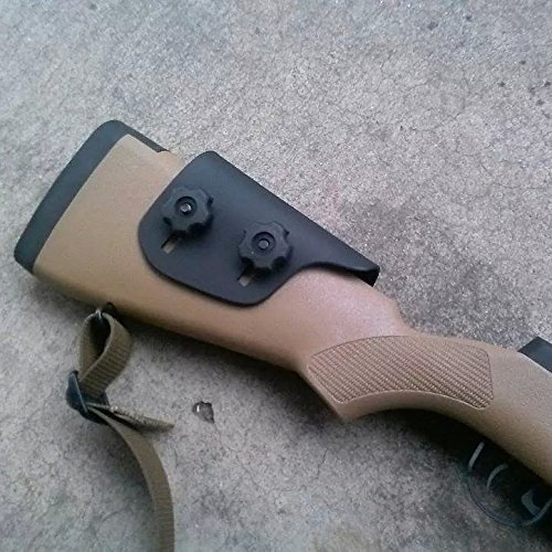 "Adjustable Kydex Cheek Rest Riser .125"" - Premium Cheek Rest: Remington 700 HS Precision & Savage Accustock (Bear Paw Right - Black Oxide Bolts)"