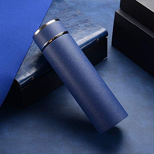 chenbyyao Edelstahl-Vakuumflasche Geschenk Büro Tasse 500 ml blau Vakuum-isolierte Kaffee-Thermobecher Thermobecher Thermobecher mit Einer Hand öffnen zum Trinken, doppelt.