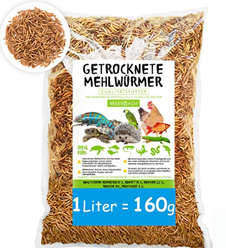 MeerBach Mehlwürmer getrocknet • 1 Liter (160g) Futtermittel im Beutel• der proteinreiche Snack für Wildvögel, Fische, Reptilien, Schildkröten und Igel