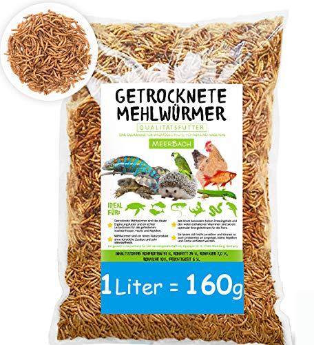 MeerBach SHF-Natur Mehlwürmer getrocknet • 1 Liter (entspricht 160g) Premium Futter • der gesunde und natürliche Snack für Fische, Nager, Reptilien, Schildkröten und Igel
