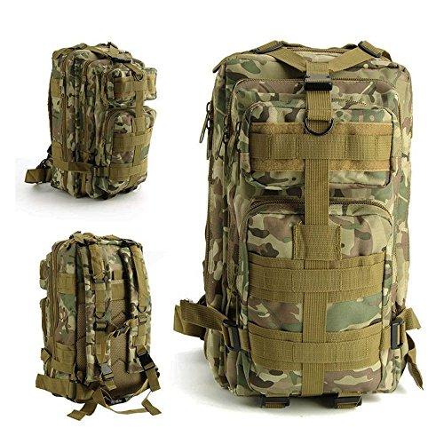 Greenpromise Mochila unisex de nailon resistente al agua, táctica militar, de gran capacidad, 30 l, para viajes al aire libre, camping, senderismo, supervivencia, bolsa de camuflaje (CP camuflaje)