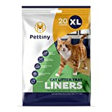 Pettiny 20 XL Cat Litter Tray Liners with Drawstrings Scratch Resistant Bags for Extra Large Litter Box