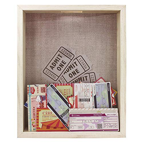 Space Art Deco, Shadow Box Frame - Shadow Box Display Case – Top Loading Wood Frame - Wine/Bottle Caps, Shells, Ticket Stubs Holder,Great for Weddings, Pictures, Mementos (Natural, 11x14, 1-Pack)