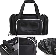 Smiling Paws Pets 4-Way Expandable Airline Approved Soft Sided Pet Carrier, Pet Travel TSA Carrier Bag for Cats, Puppies & Animals, Collapsible Kennel, Airplane, Car & Train Travel, 17x11x9 L/W/H (XS)