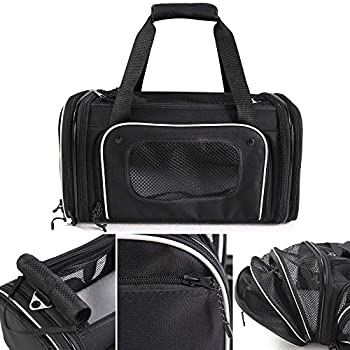 Smiling Paws Pets 4-Way Expandable Airline Approved Soft Sided Pet Carrier Pet Travel TSA Bag for Cats & Dogs Collapsible Kennel Pet Travel Bag for Airplane Car & Train 17x11x9 L/W/H  XS