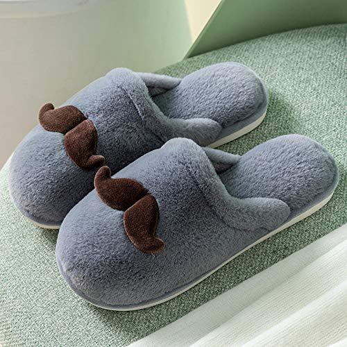 Nwarmsouth Nuevas Zapatillas Slip On Mules para Hombre,Lindas Zapatillas de Lana de Dibujos Animados, cálidos Zapatos de Felpa de algodón-Gris_37-38,Peluche Zapatos Memory Foam