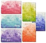 Tarjetas de agradecimiento y sobres en blanco, 6 diseños de acuarela degradado (4 x 6 pulgadas, 48 unidades)