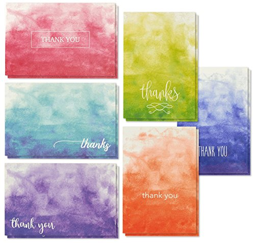 48 Thank You Cards with Envelopes, Bulk Blank Notes in 6 Ombre Watercolor Designs, Weighted Card Stock for Business, Baby Shower & All Occasions